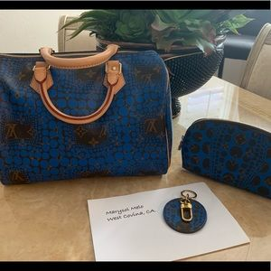 Louis Vuitton Blue Kusama Set